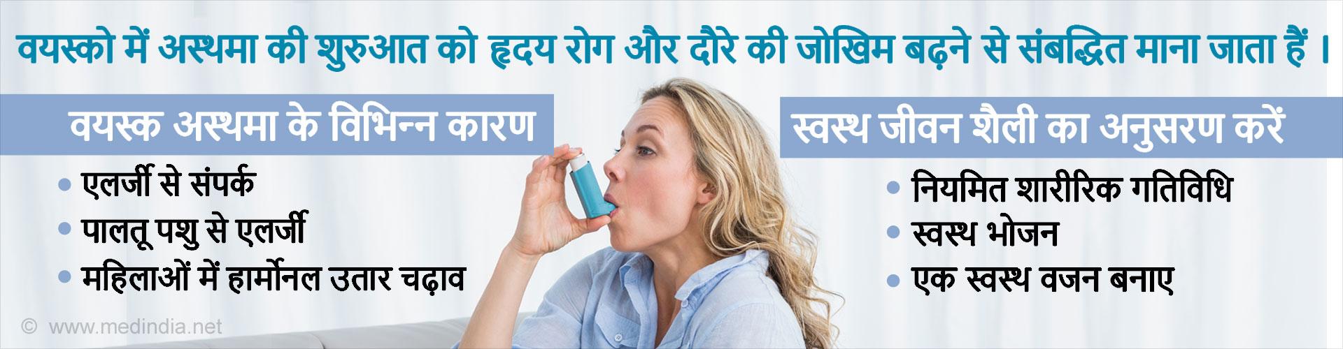 वयस्को में अस्थमा की शुरुआत को हृदय रोग और दौरे की जोखिम बढ़ने से संबद्धित माना जाता हैं ।