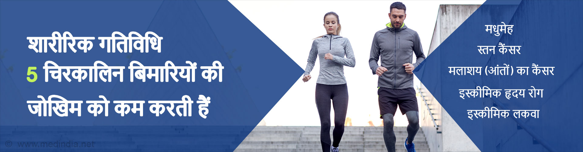 साप्ताहिक शारीरिक गतिविधि से, पांच चिरकालिक बिमारियों की जोखिम को कम किया जा सकता हैं।